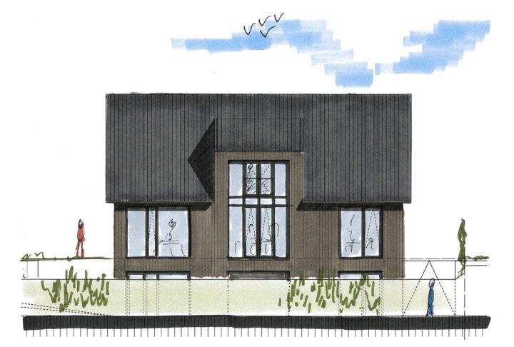 Achtergevel (zuid-west) -Ontwerp door Vidazz bouwkundig ontwerp.